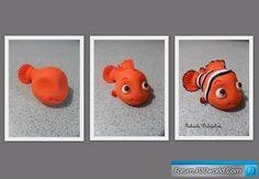 Here is how to to make fondant Nemo. Fimo Polymer Clay, Polymer Clay Figures, Polymer Clay Projects, Polymer Clay Creations, Clay Crafts, Fondant Animals, Clay Animals, Nemo Y Dory, Nemo Cake