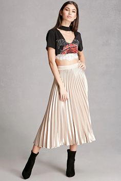 A satin midi skirt featuring allover accordion pleating and a concealed back zipper. This is an independent brand and not a Forever 21 branded item.