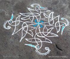 Swastik chikku becomes Birdies Indian Rangoli, Kolam Rangoli, Rangoli With Dots, Simple Rangoli, Beautiful Rangoli Designs, Kolam Designs, New Year 2020, Art Forms, Artwork