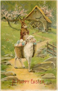antique Easter postcard; bunny riding lamb with egg basket