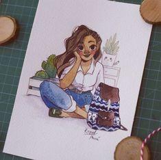 Sketch Book Raquel Travé on Behance - Marker Kunst, Marker Art, Girl Drawing Sketches, Cute Drawings, Drawing Ideas, Sketch Art, Cartoon Drawings, Pretty Art, Cute Art