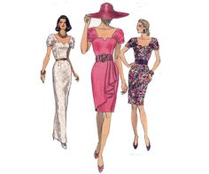 1990s does 1940s Side Draped Dress Pattern by allthepreciousthings, $18.00