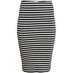 Pencil Skirt $12.99 ($13) ❤ liked on Polyvore featuring skirts, striped skirts, striped pencil skirt, stripe skirts, elastic waist pencil skirt and knee high skirts