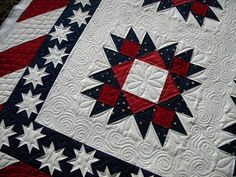 This quilt is Cinda's.  It was a fun one to do up.  She wanted custom quilting and thread to match.  I used red thread on red, white on white and blue on blue.  Very fun and patriotic and the piecing was beautiful!