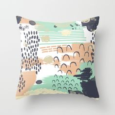 Liesel+-+Abstract,+painterly,+mark-making+artist,+colors+cell+phone+case+design+Throw+Pillow+by+CharlotteWinter+-+$20.00