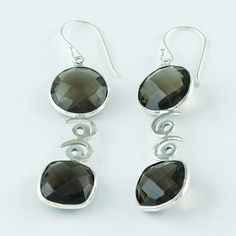 SMOKY QUARTZ STONE CHARMING DESIGN 925 HANDMADE STERLING SILVER EARRINGS #SilvexImagesIndiaPvtLtd #DropDangle