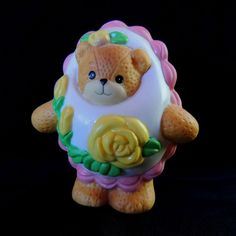 Easter Egg Lucy & Me Bears Figurine White Pink Yellow Flower Leaf Enesco 1994 FS