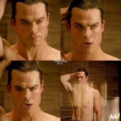 The Vampire Diaries || Damon Salvatore on the shower.