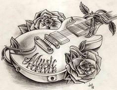 guitar tattoo drawing more tattoo idea guitar tattoo tattoo drawing ...