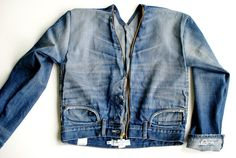 DIY: Jeans into Denim Jacket Trash To Couture: DIY: Jeans into Denim Jacket<br> As a designer and seamstress, I love making original looks that you can't buy online. I prefer to redesign garments . Diy Jeans, Diy Clothes Jeans, Jeans Refashion, Diy Clothes Refashion, Trash To Couture, Denim Jacket Diy, Denim Crafts, Upcycled Crafts, Repurposed