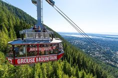 Photo by @susanseubert // #sponsored by @explorecanada // Grouse Mountain's Skyride Surf Adventure is a summer opportunity to ride on top of the Grouse Mountain Gondola viewing platform as you ascend 5282 feet to the top.