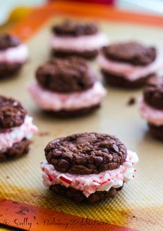 Chocolate Fudge #Cookies with candy cane buttercream
