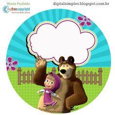 Kit Festa Aniversário Masha e o Urso - Convites Digitais Simples Up Theme, Bear Theme, Bear Birthday, 2nd Birthday Parties, Masha Et Mishka, Marsha And The Bear, Theme Mickey, Bear Party, Ideas Para Fiestas