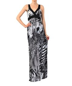 Another great find on #zulily! Black Animal Surplice Maxi Dress by Pretty Young Thing #zulilyfinds