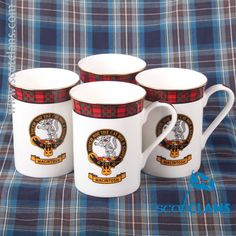 MacIntosh Clan Crest Bone China Mugs. Free worldwide shipping available