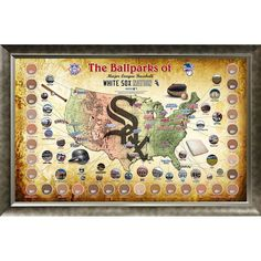 """Major League Baseball Parks """"Map"""" 20x32 Framed Collage w/ Game Used Dirt From 30 Parks - White Sox Version - $349.99"""