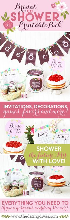 This Bridal Shower Pack is so CUTE!! Love the super easy and done for you ideas for decorations, games and favors!! http://www.TheDatingDivas.com