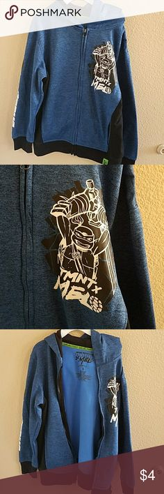 TMNT Sweatshirt Size Small/6 HP HP Full Zip Sweatshirt With Hood Blue and Black With White Iron On Designs. Good overall condition but last 2 pics show piling around hem and on sides Teenage Mutant Ninja Turtles Shirts & Tops Sweatshirts & Hoodies