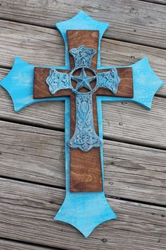 Turquoise Wood & Metal Stacked Cross