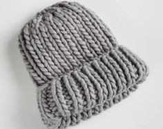 Chunky beanie, minimalist chic woollen hat, urban style chunky hat (ready to ship) in light grey