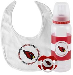 Arizona Cardinals Infant Three-Piece Bottle, Bib & Pacifier Set #AZCardinals #NFLStyle