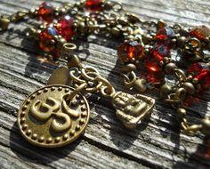 Zinfandel Buddha / Om / Beaded Rosary Necklace / OOAK by DeLucaArt, $52.00