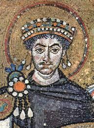 Dio mozaika desno od apside u San Vitale - Justinijan I. Veliki (527.-565.), obnovio Z i I RC, Carigrad, supruga Teodora, protivio se arijanizmu, ukinuo Plotinovu (3. st.) akademiju u Rimu