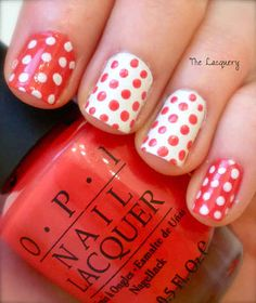 Ok, leaves are hard. Take a look at these patterned pretties. Dots.. | 30 Canadatastic DIY-Able Manicures For Canada Day