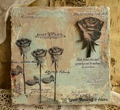 Eclectic Rose Canvas by Lynne Moncrieff using Darkroom Door Full Bloom Vol 1 Rubber Stamps and Rose Eclectic Stamp. http://www.darkroomdoor.com/eclectic-stamps/eclectic-stamp-rose