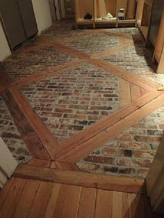 brick and wood inlay on floors... brilliant!