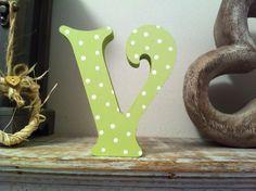 Freestanding Wooden Letter 'V' Spotty Finish by LoveLettersMe