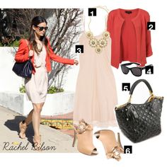 Dress by Number: Rachel Bilson's Coral Blazer and Nude Booties