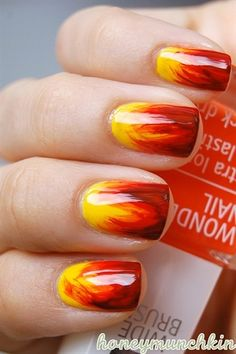 Fall Nails Fiery Hot #fall #fallnails