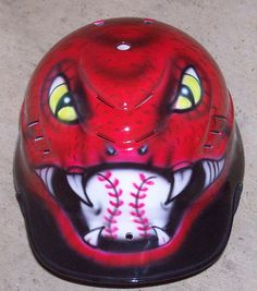 Airbrushed batting helmet RED SNAKE Baseball by tonysairbrush