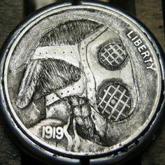 CHRISTOPHER STINNETT HOBO NICKEL - GAS MASK* - 1919 BUFFALO PROFILE Hobo Nickel, Coins, Gas Masks, Carving, Buffalo, Profile, Art, User Profile, Art Background