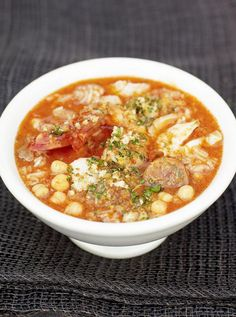 Spanish fish & chorizo soup. Sprinkled with pangrattato for extra zest and crunch. By Jamie Oliver