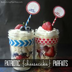 Patriotic Cheesecake and Meringue Parfaits / Canada Day or 4th of July