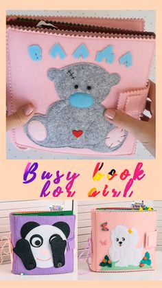 Personalized quiet book for little girl, Motorskills sensory toy, busy and personalized book, Diy Busy Books, Diy Quiet Books, Baby Quiet Book, Felt Quiet Books, Toddler Learning Activities, Infant Activities, Family Activities, Diy Learning Toys, Indoor Activities