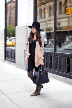 Luxe Basics - Calypso St. Barth sweater c/o Alexander Wang tank // Stuart Weitzman boots c/o James Jeans c/o // Saint Laurent bag // Preston & Olivia hat Wednesday, October 22, 2014