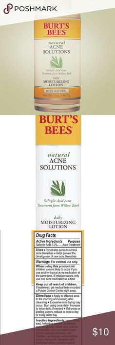Burts Bees Daily Moisturizing Face Lotion Burts Bees Natural Acne Solutions Daily Moisturizing Face Lotion. Salicylic acid treatment from willow bark.  99% natural. 2 oz bottle. Never used. Burts Bees Other