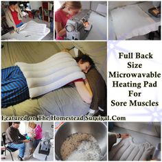 This step by step tutorial of how to make a back size microwavable heating pad for sore muscles and back pain is an inexpensive safe way to bring soothin