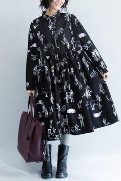 White Flower Cotton Black Doll A-style Long Sleeve Dresses Women Clothing Q3103