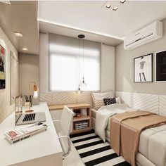 Nice 35 Spectacular Small Bedroom Design Ideas For Cozy Sleep. Single Bedroom, Small Room Bedroom, Small Rooms, Master Bedroom, Modern Bedroom, Contemporary Bedroom, Bedroom Study Area, Modern Teen Bedrooms, Small Spaces