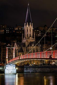 Eglise Saint-Georges & Paul Couturier Bridge over The Saône River ~ Lyon, France