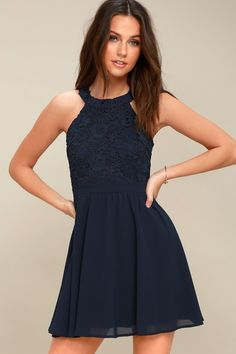 Win their hearts every time in the Lulus Lover s Game Navy Blue Lace 2355d9190