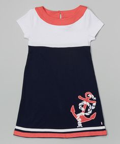 Look at this Navy & Coral Anchor Dress - Infant, Toddler & Girls on #zulily today!
