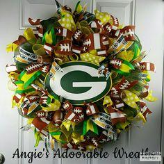 Green Bay Packers , come take a look www.facebook.com/angiesadoorablewreaths