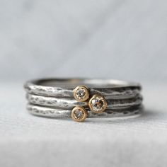Tiny Diamond Ring Set - Natural brown Diamond 18k Gold and Silver Stack Rings - Set of 3 Diamond Stack Rings - Eco-Friendly Recycled