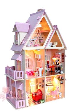 3D DIY LED light wooden my little house (Pink) dollhouse Miniatures Kit(China (Mainland))
