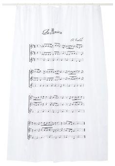 Cortina de baño de poliéster en color blanco con un pentagrama y la sinfonía de la